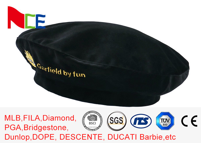 FUN Black Mercerized Female Green Beret Hat Embroidered Velvet Beret Hat Breathable