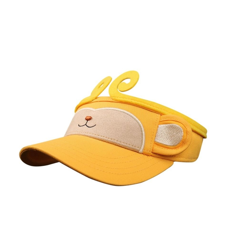 Yellow Summer Kids Sun Visor Cap Colorful Monkey Animal Topee Hat For Children